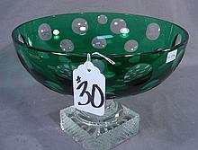 EUROPEAN EMERALD OVERLAY CUT CRYSTAL BOWL