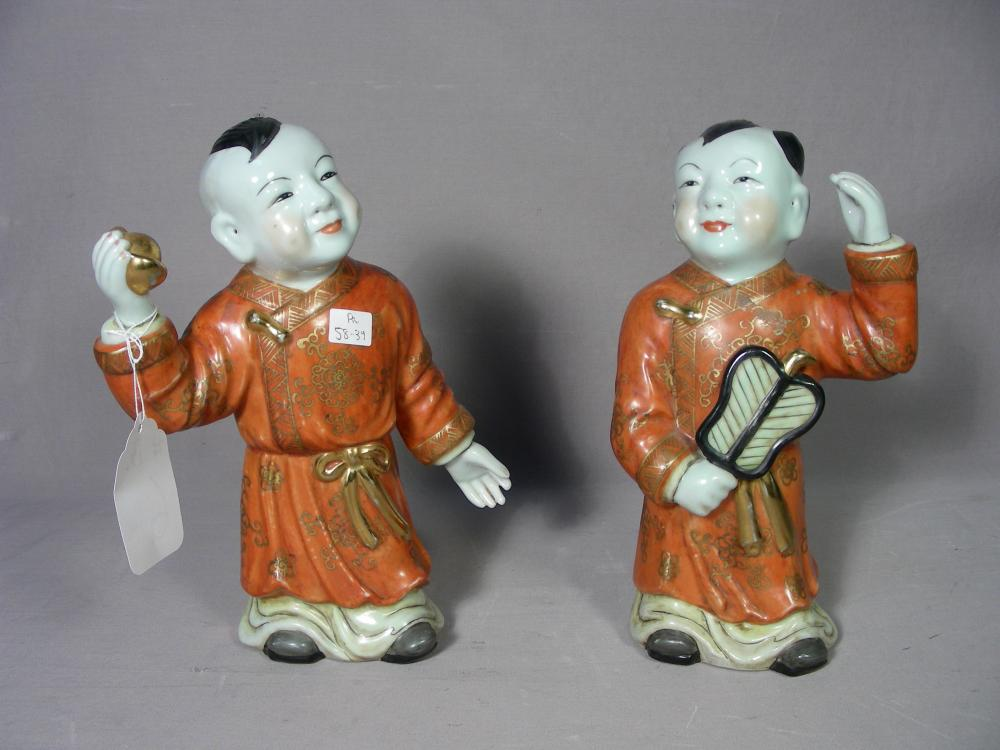 PAIR CHINESE PORCELAIN STANDING FIGURES