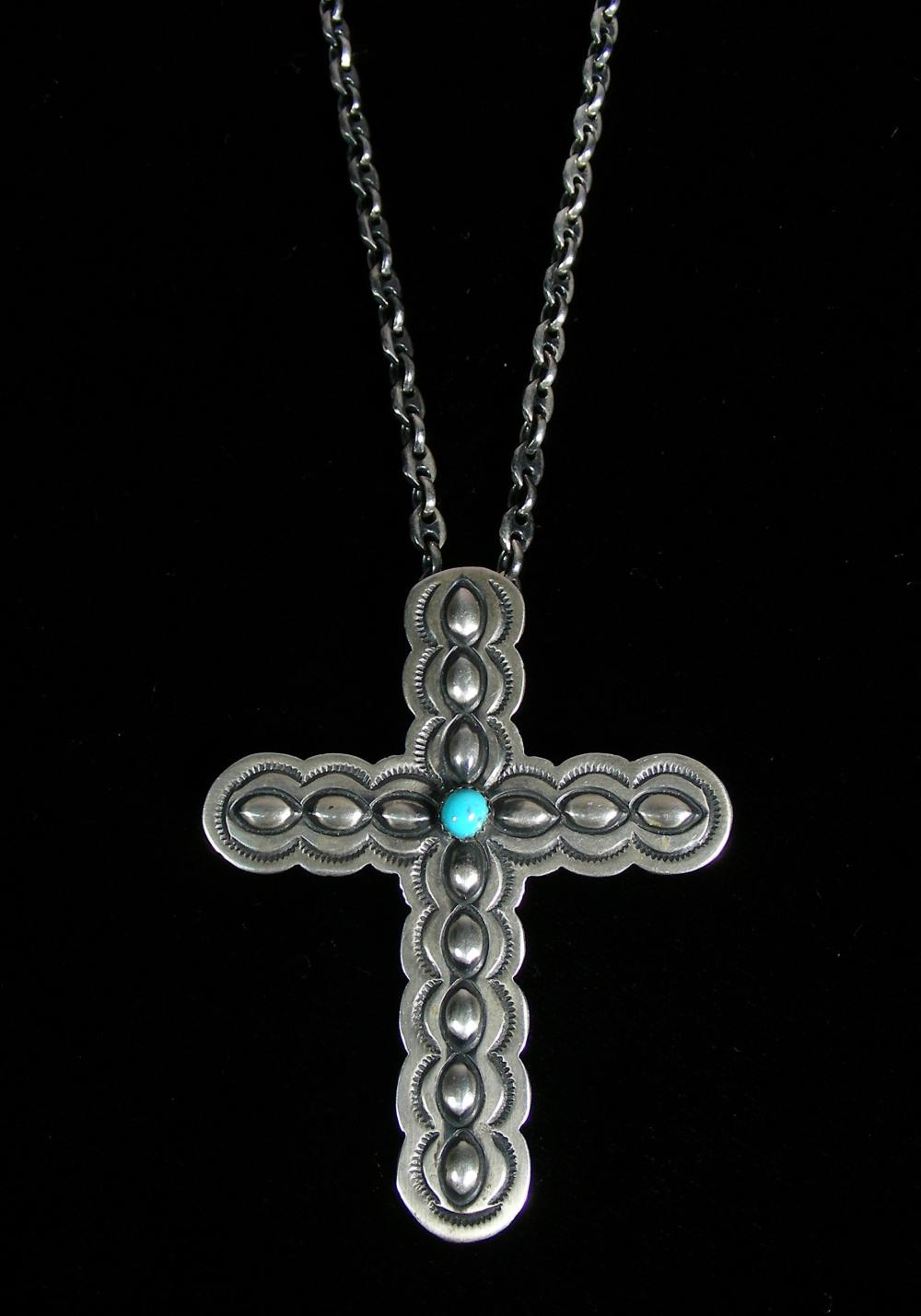 VINGAGE STERLING SILVER & TURQUOISE CROSS NECKLACE