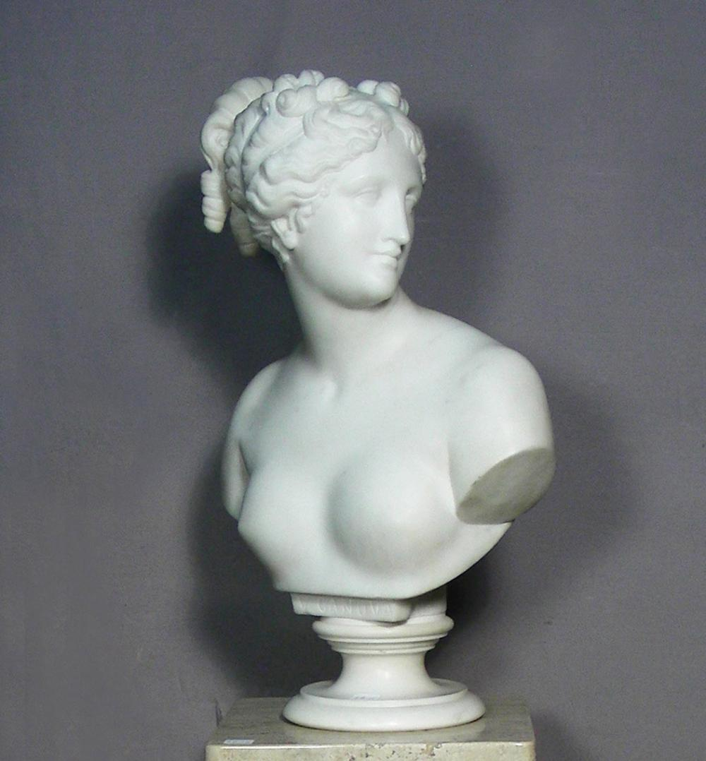 FINE ITALIAN HAND CARVED MARBLE BUST OF WOMAN