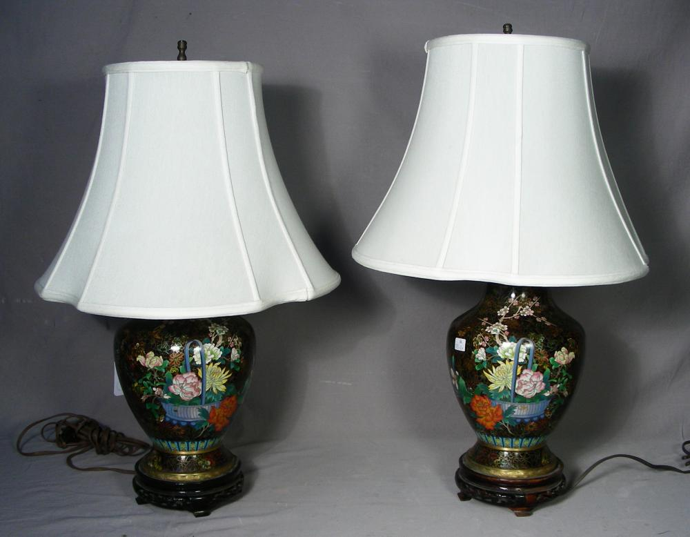 PAIR CHINESE CLOISONNE TABLE LAMPS