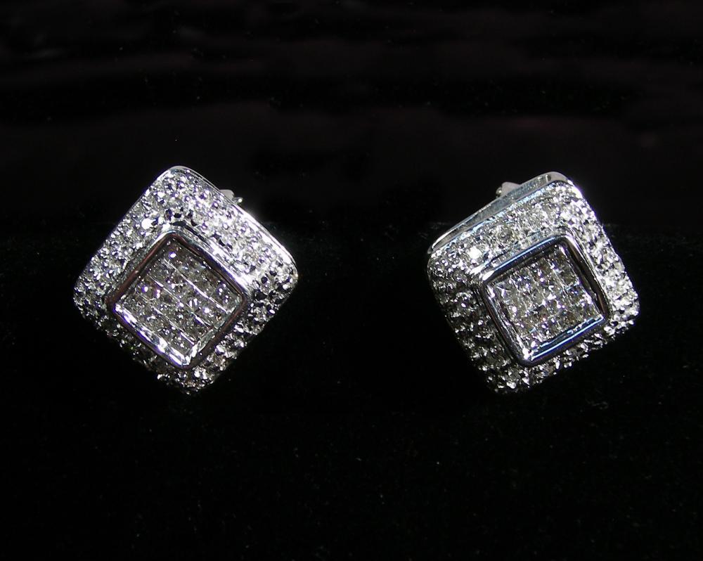 PAIR LADIES 14K WHITE GOLD & DIAMOND EARRINGS