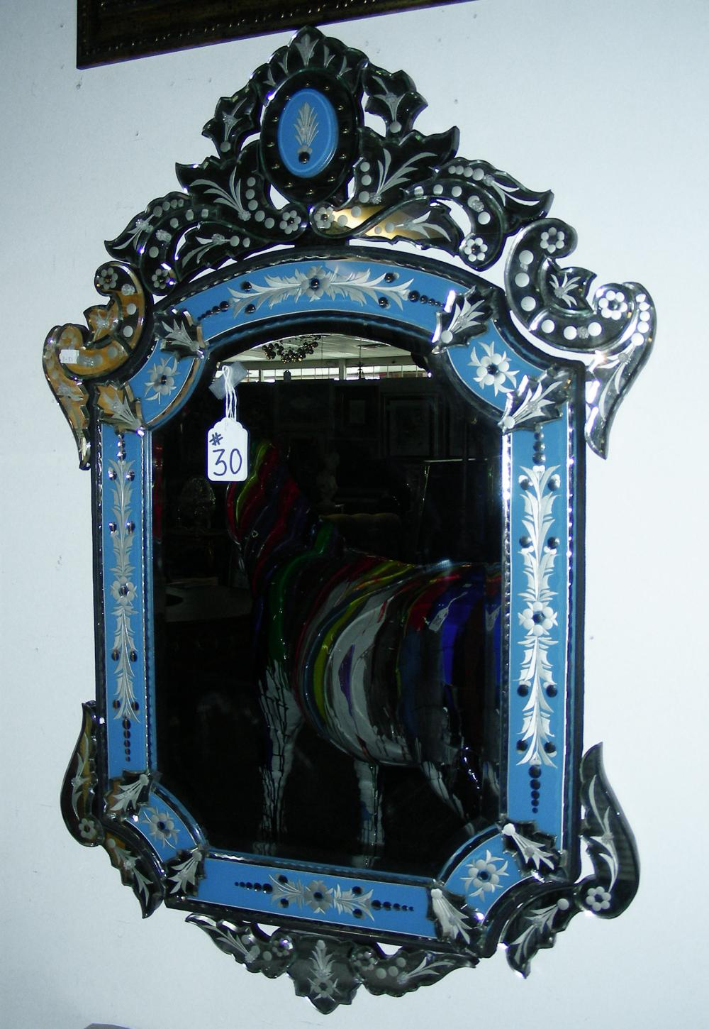 COBLAT BLUE AND CLEAR VENETIAN GLASS MIRROR
