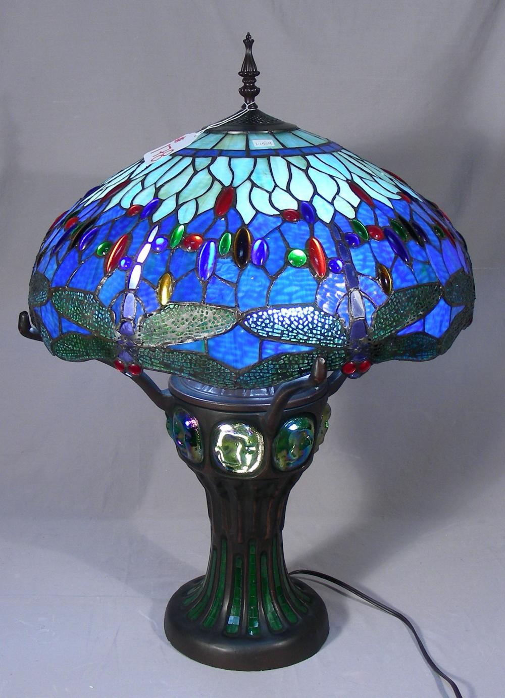 METAL AND LEADED GLASS DRAGONFLY TABLE LAMP