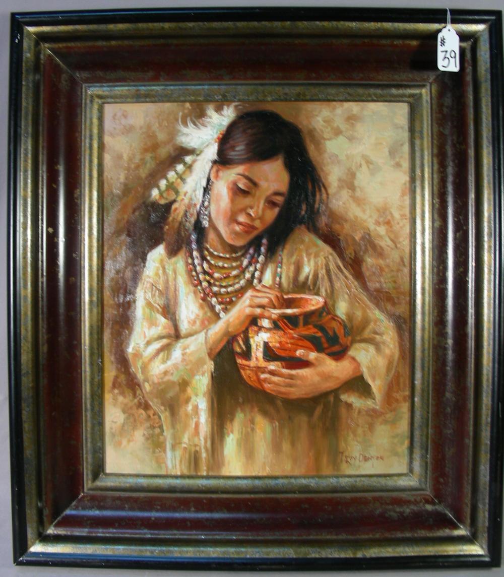 "FINE ORIGINAL OIL ON CANVAS ""INDIAN WOMAN HOLDING POT"""