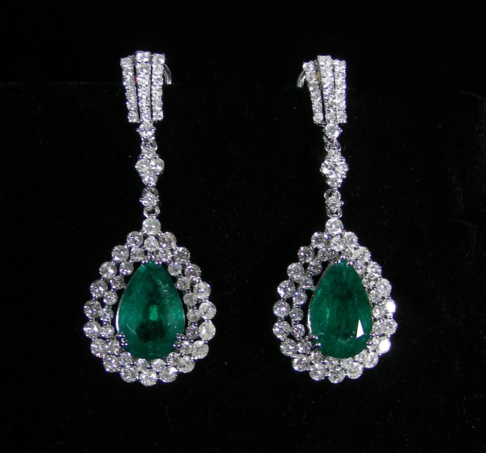 PAIR LADIES 18K WHITE GOLD, EMERALD & DIAMOND EARRINGS