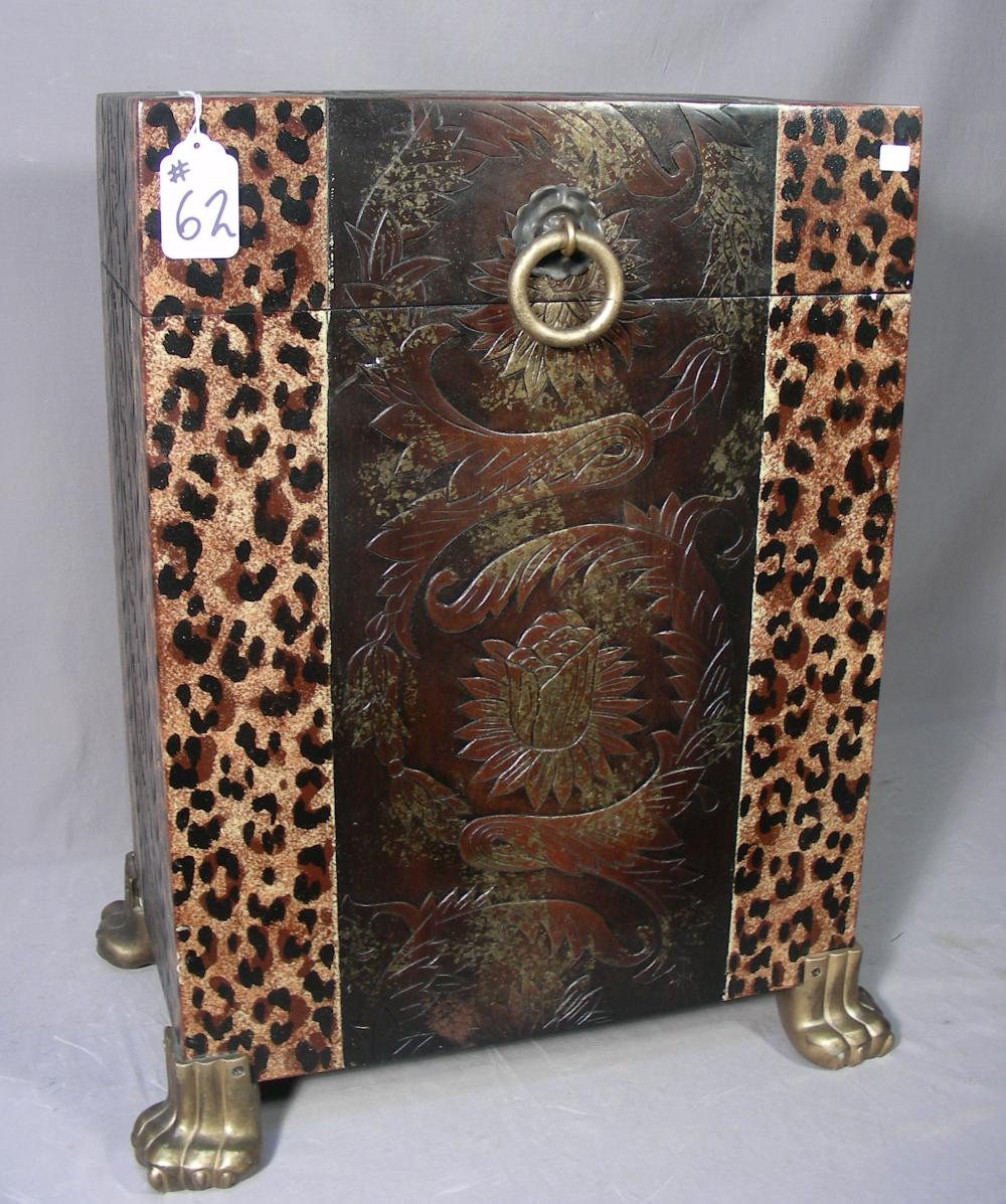 HEAVY ANIMAL PRINT TRUNK WITH LIFT UP TOP