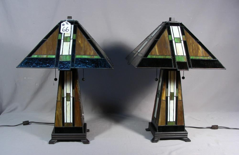 PAIR FINE ARTS AND CRAFTS STYLE LEADED GLASS TABLE LAMPS