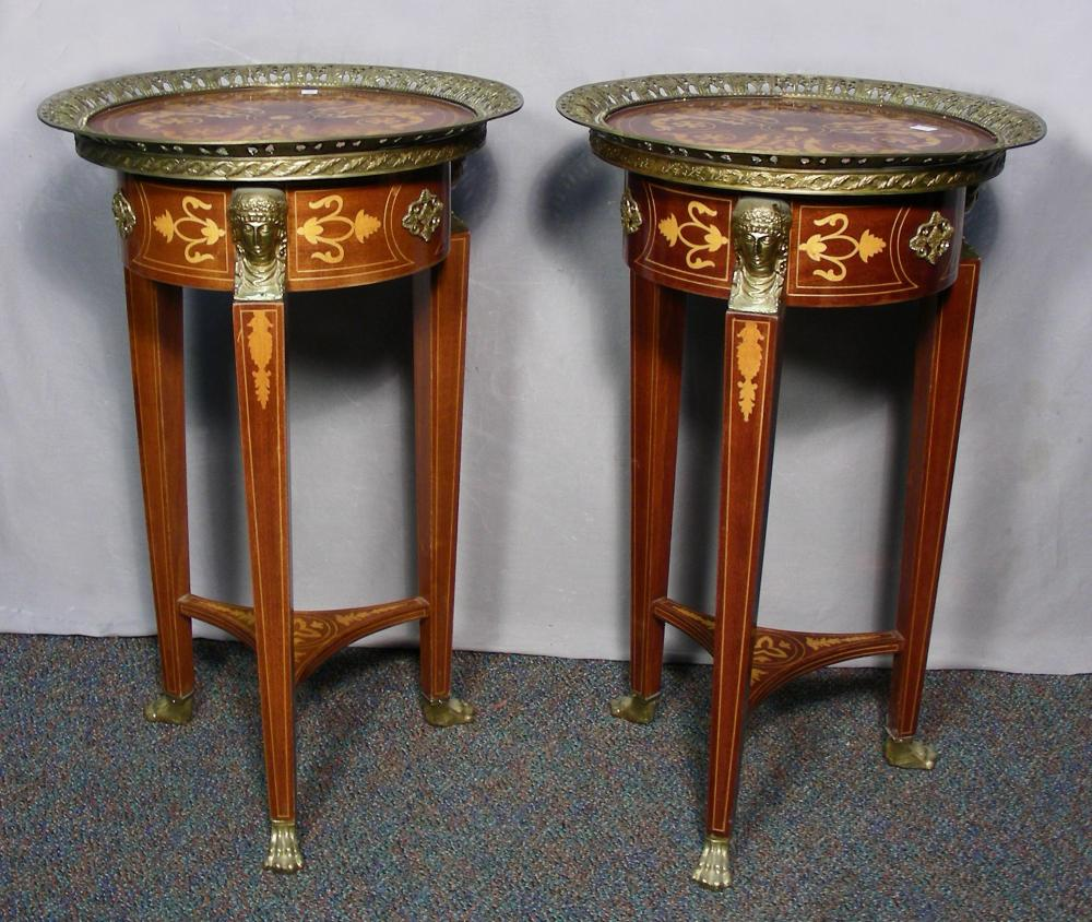 PAIR ITALIAN INLAID SIDE TABLES WITH ORMOLU APPOINTMENTS