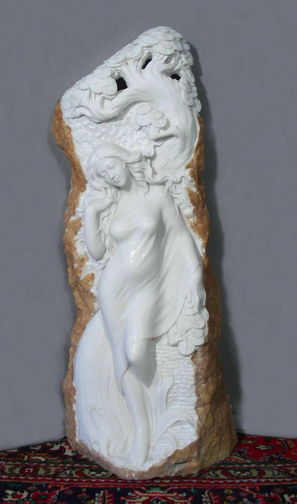 SPECTACULAR ITALIAN HAND CARVED ILLUMINATED MARBLE SCULPTURE OF WOMAN