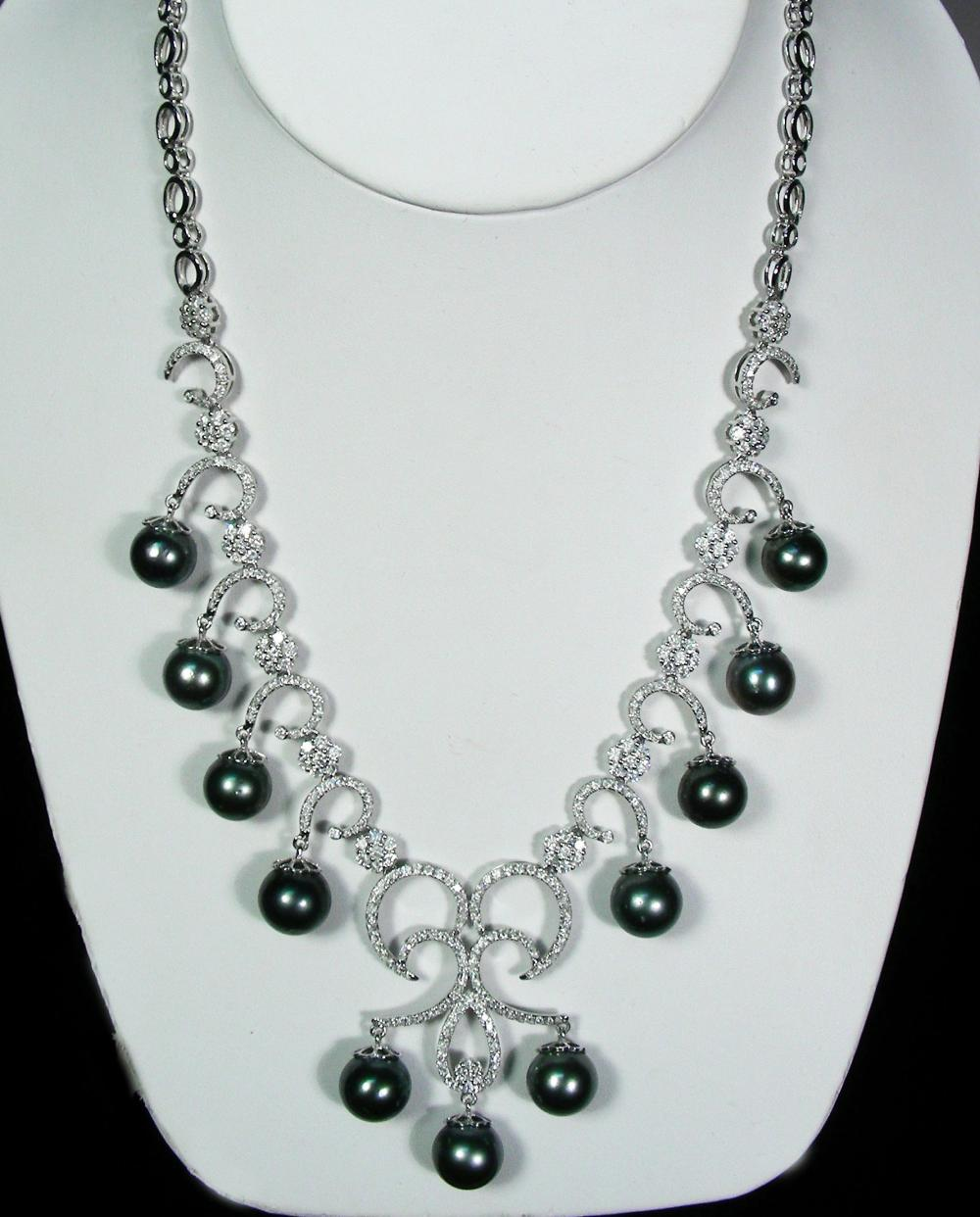 SPECTACULAR LADIES 14K WHITE GOLD, BLACK SOUTH SEA TAHITIAN PEARL & DIAMOND NECKLACE