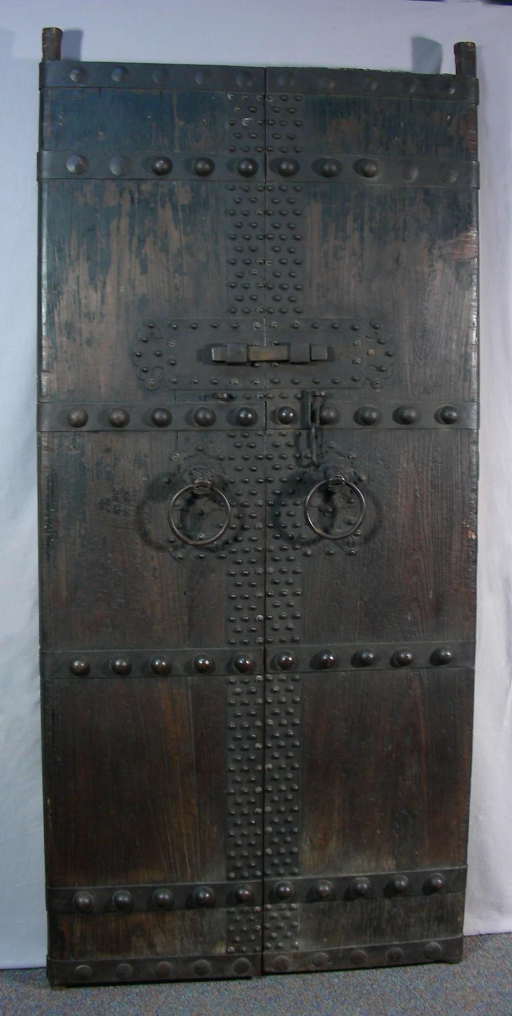 PAIR SPECTACULAR 19TH CENTURY CHINESE WOOD & CAST IRON DOORS