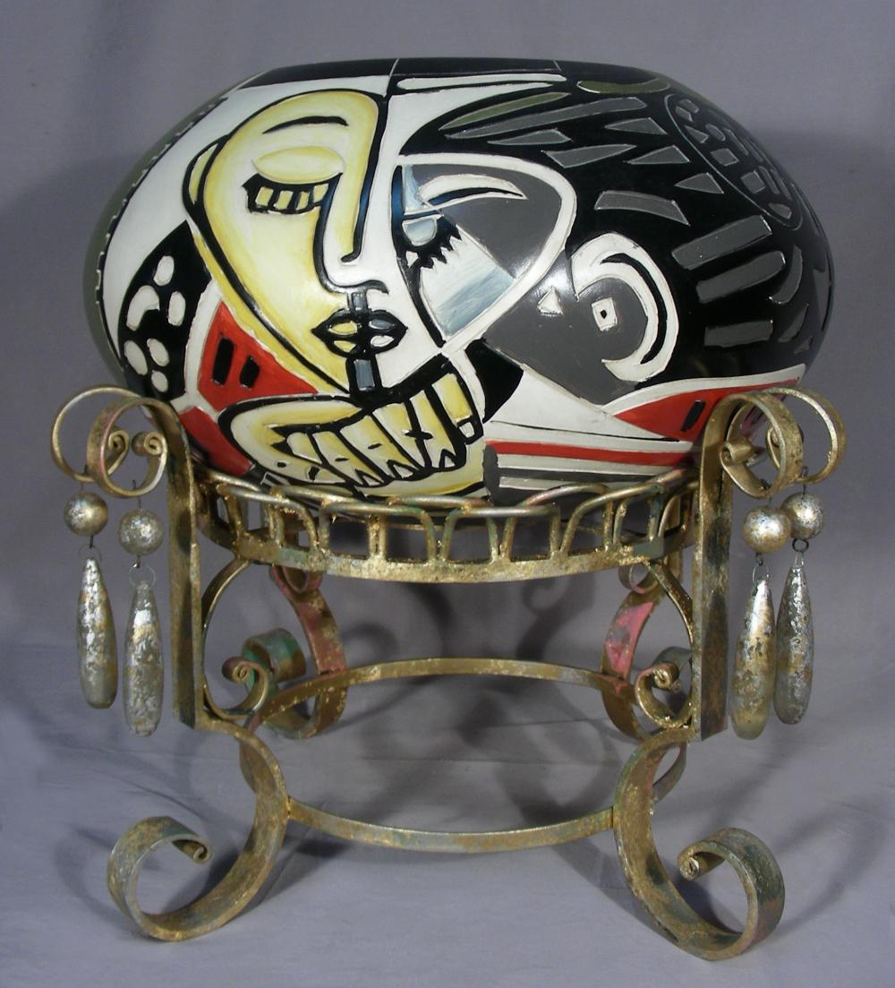 LARGE HAND PAINTED PICASSO STYLE BOWL ON METAL STAND