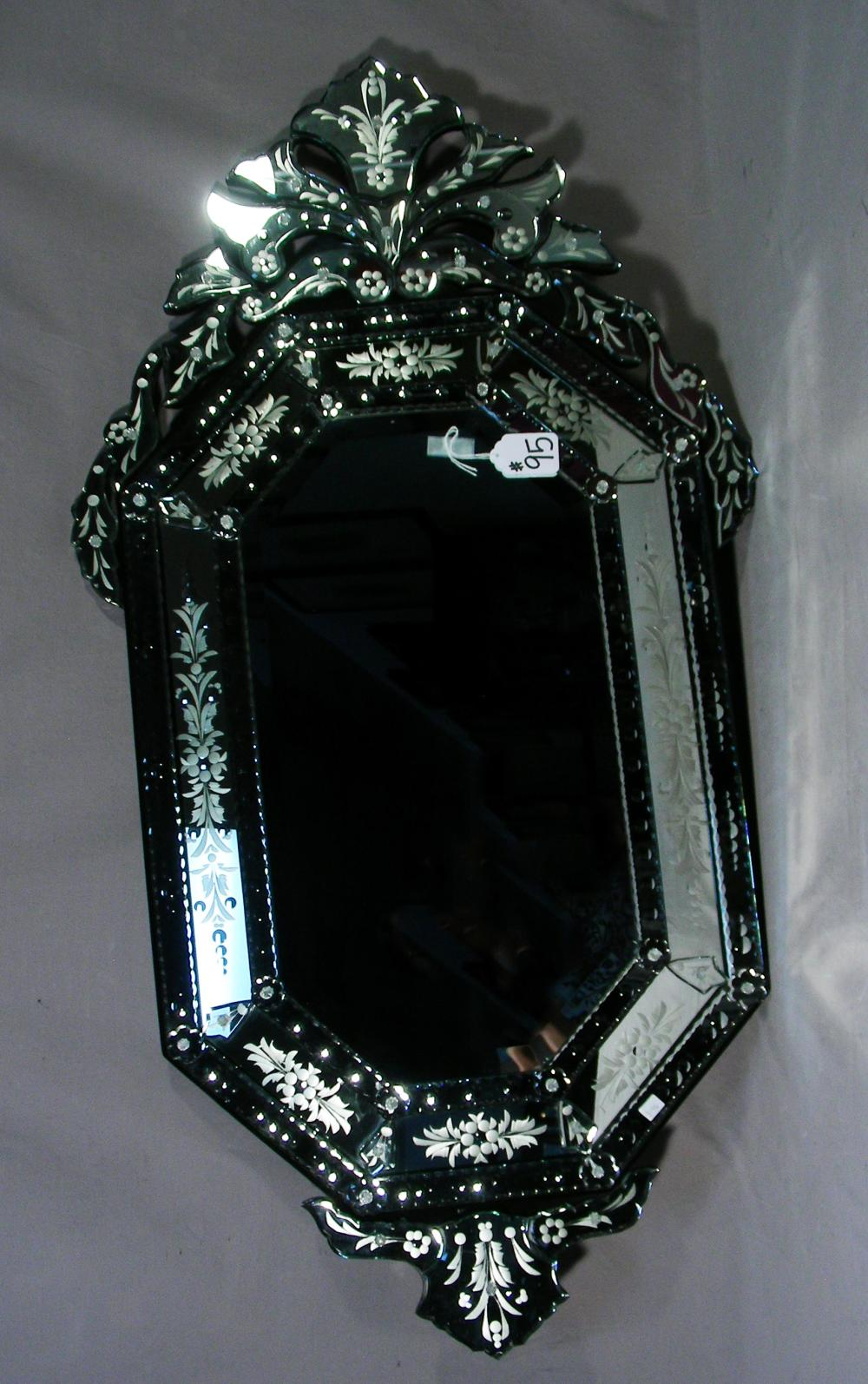 VERY FINE BEVELED GLASS & ETCHED TIERED VENETIAN GLASS MIRROR