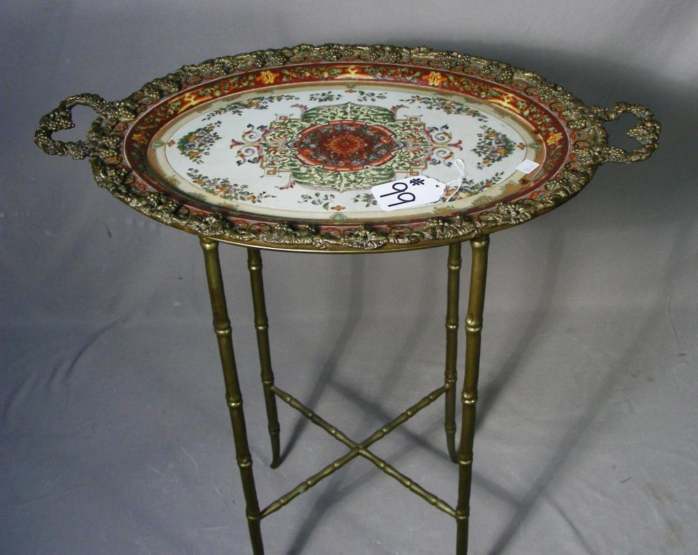 BEAUTIFUL CHINESE BRONZE & PORCELAIN TRAY ON STAND