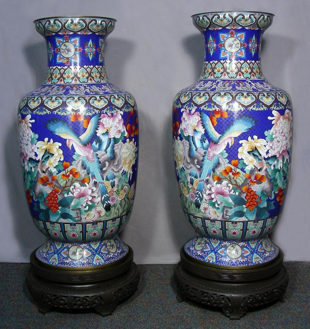 PAIR FABULOUS MONUMENTAL CHINESE CLOISONNE PALACE URNS ON STANDS