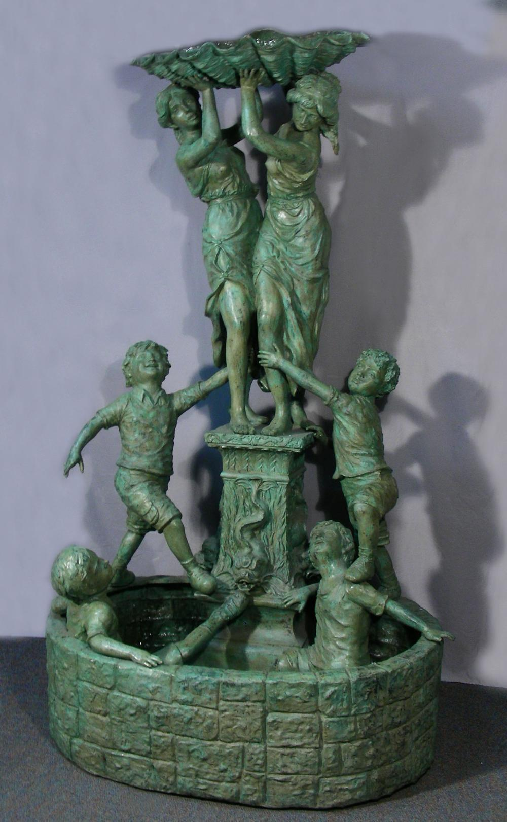 VERY LARGE VINTAGE BRONZE FIGURAL FOUNTAIN
