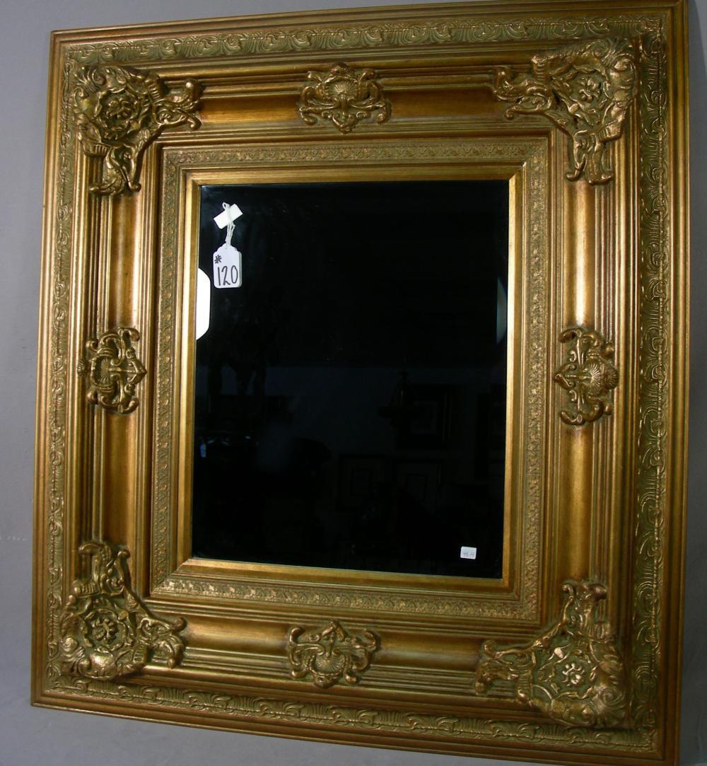 LARGE GILT BEVELED GLASS MIRROR
