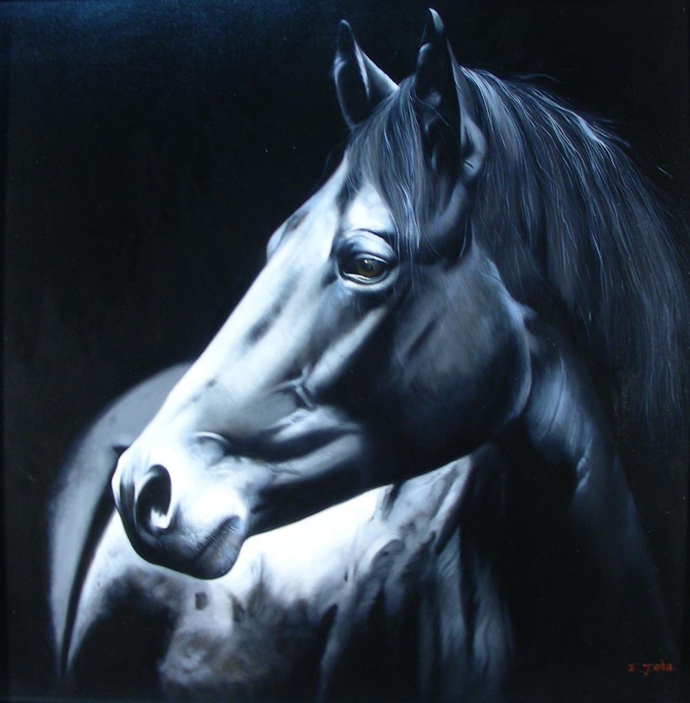 ORIGINAL OIL ON CANVAS:  PORTRAIT OF HORSE