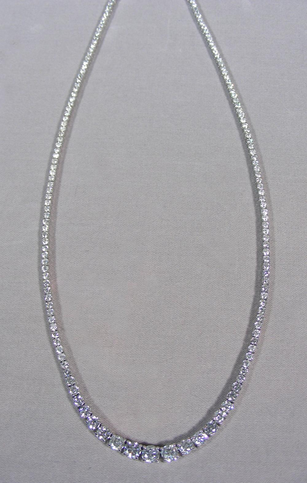 LADIES 18K WHITE GOLD, AND GRADUATED DIAMOND ETERNITY NECKLACE