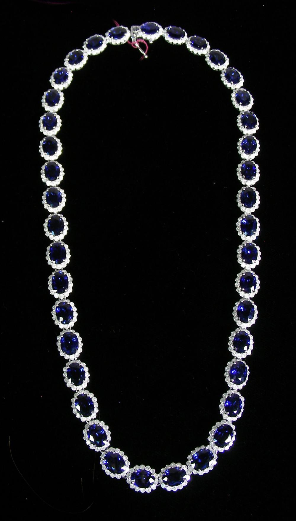 LADIES 14K WHITE GOLD, SAPPHIRE & DIAMOND ETERNITY NECKLACE