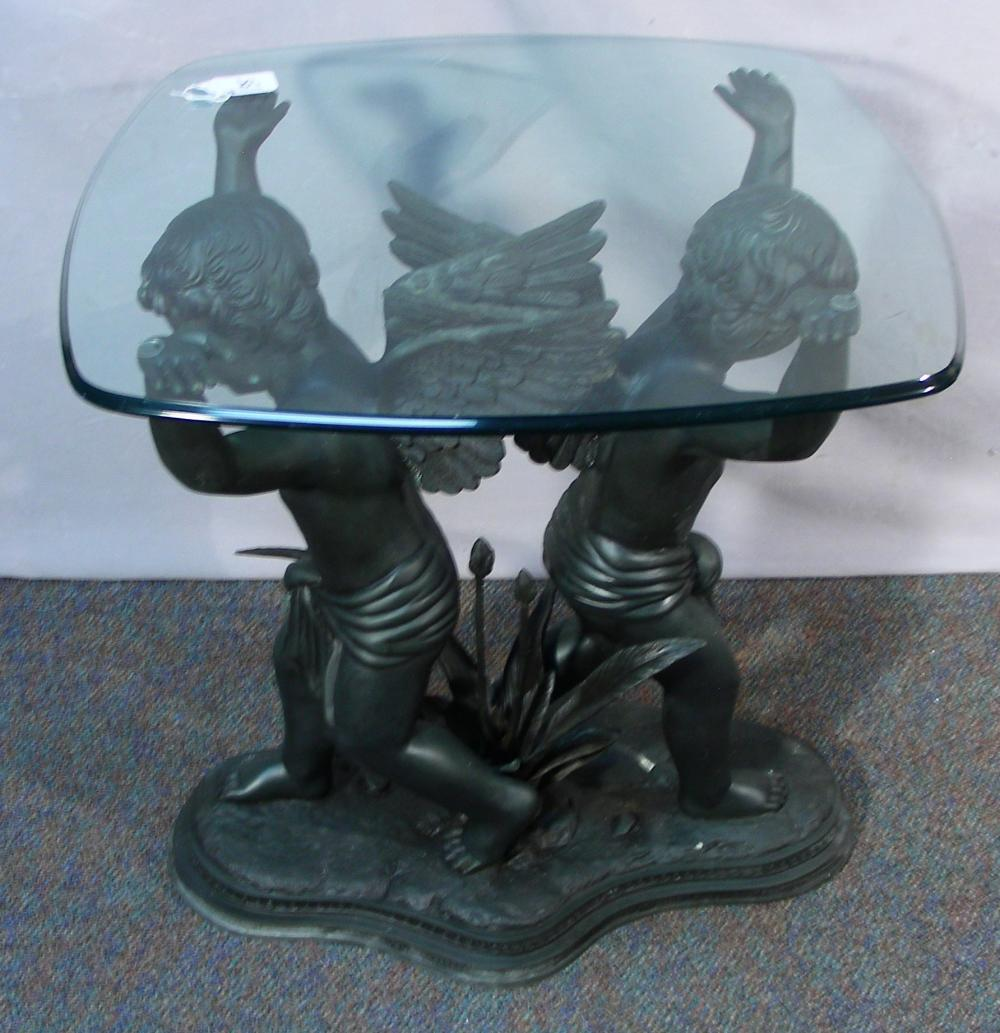 VINTAGE BRONZE DOUBLE CUPID TABLE BASE WITH GLASS TOP