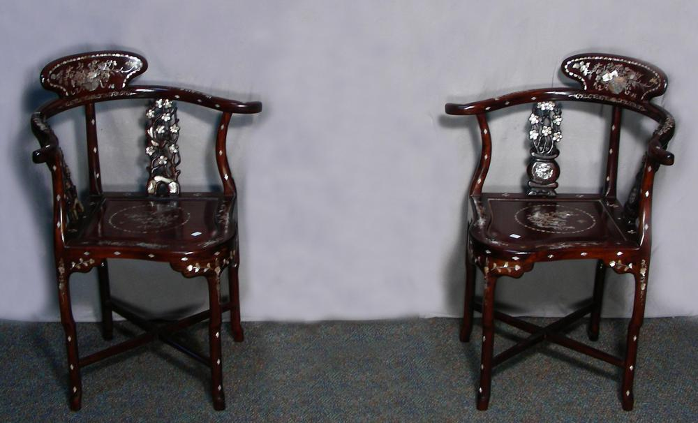 PAIR VINTAGE HAND CARVED CHINESE ROSEWOOD & MOTHER-OF-PEARL CORNER CHAIRS