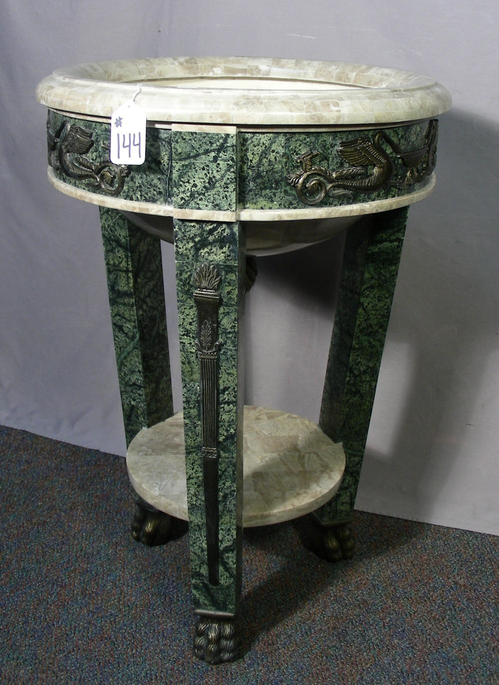 FINE FAUX MARBLE PLANT STAND WITH ORMOLU DECORATIONS
