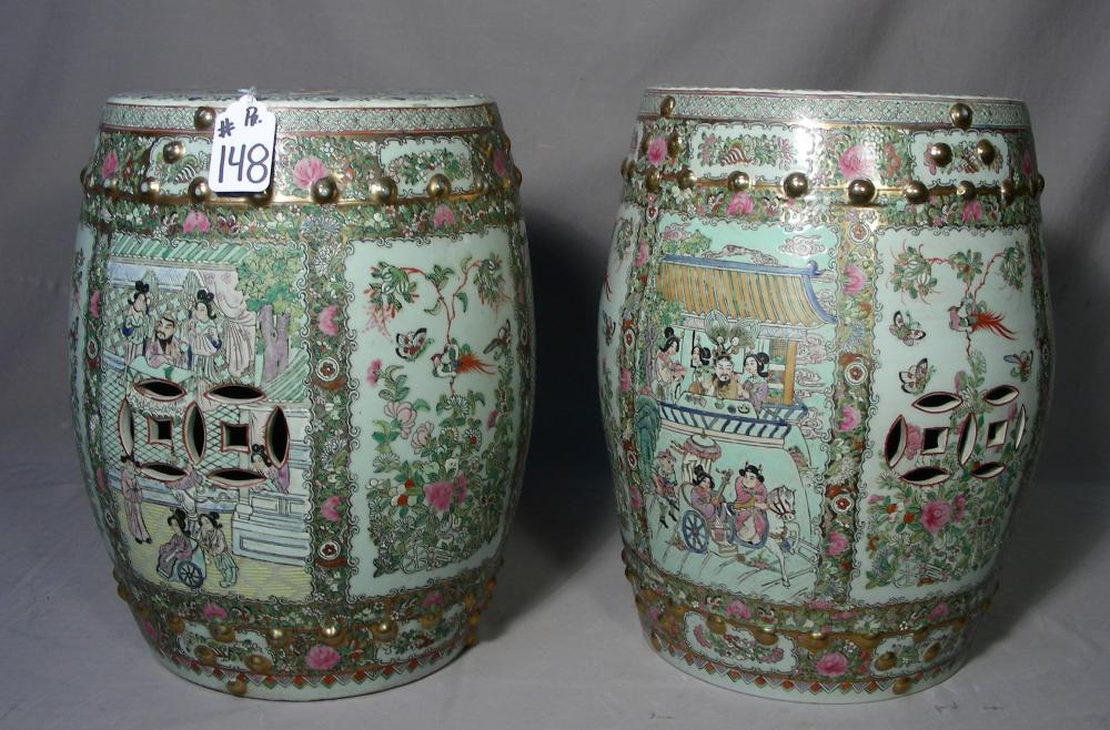 PAIR HEAVY OLD CHINESE PORCELAIN GARDEN SEATS