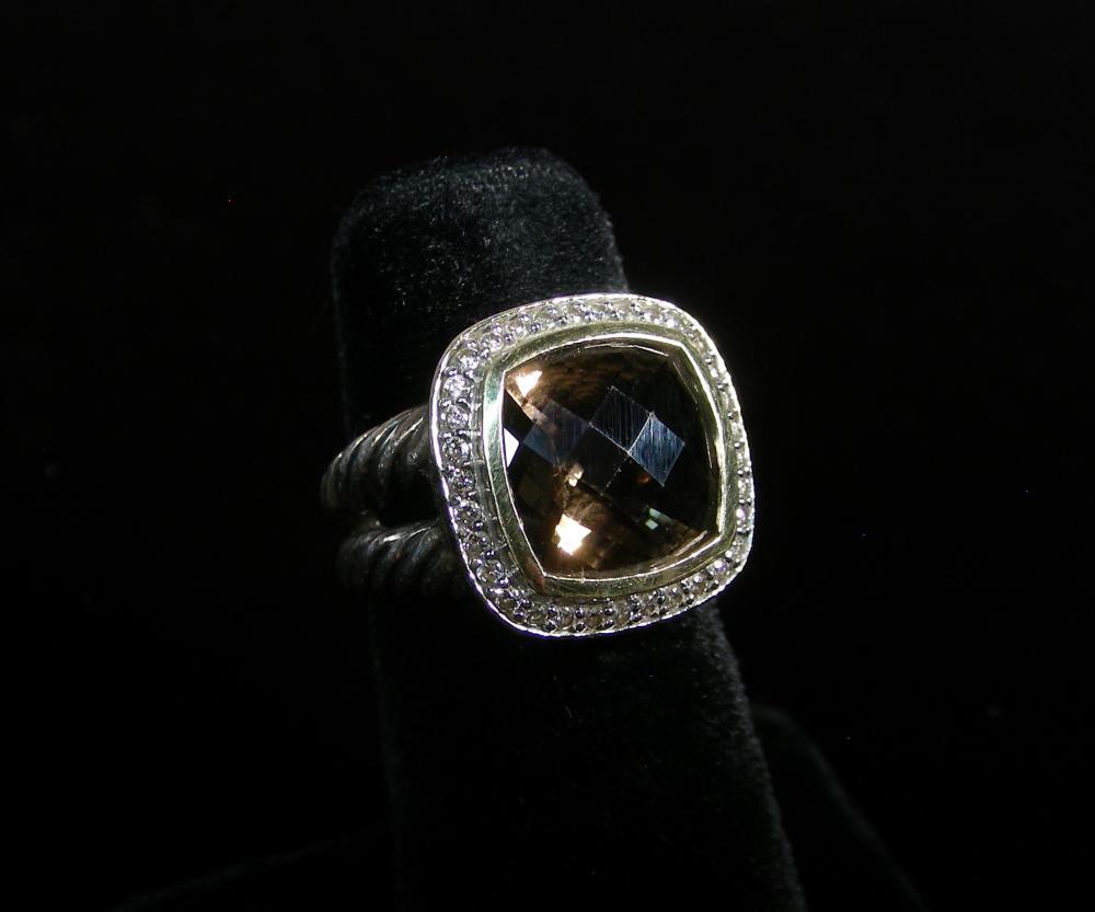 DESIGNER DAVID YURMAN STERLING, 18K Y.G., DIAMOND AND SMOKEY TOPAZ RING