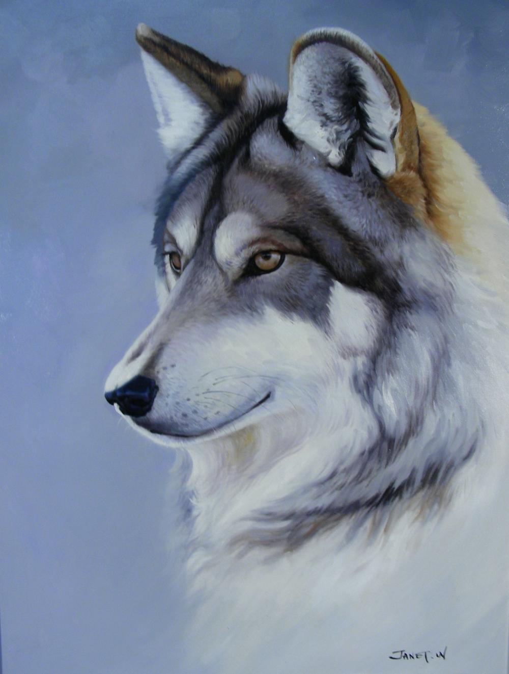 OUTSTANDING ORIGINAL OIL ON CANVAS:  PORTRAIT OF WOLF