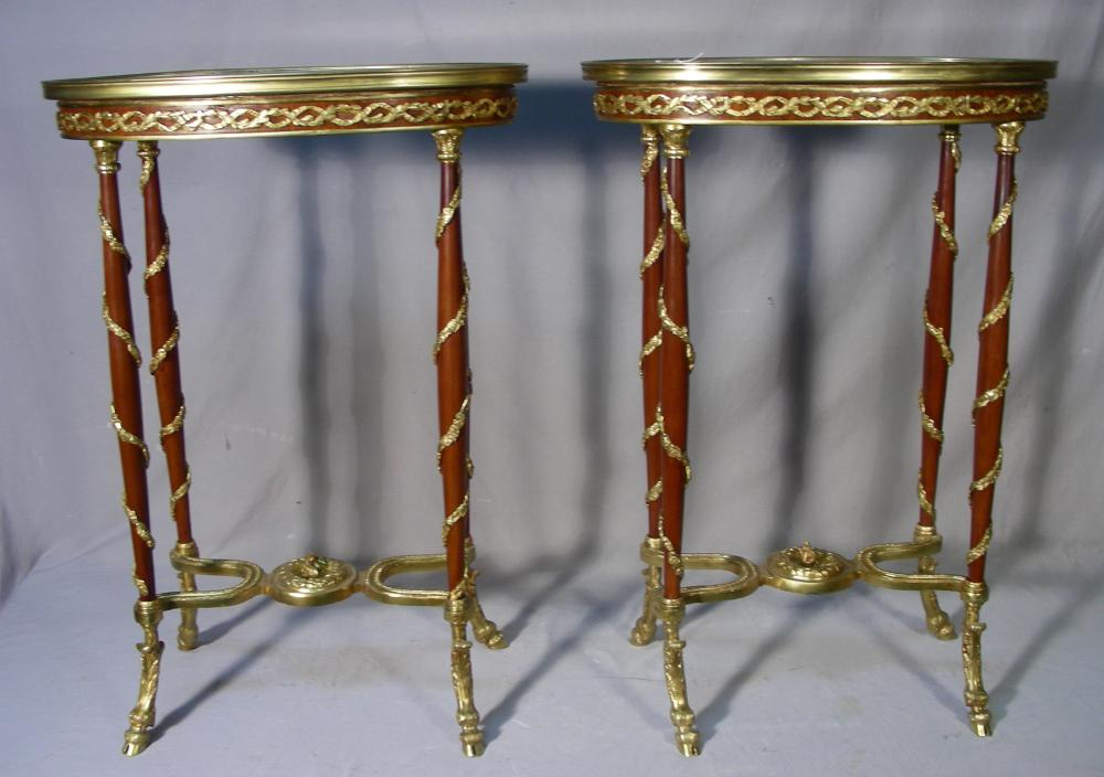 PAIR FRENCH SIDE TABLES WITH ORMOLU APPOINTMENTS & MARBLE TOPS