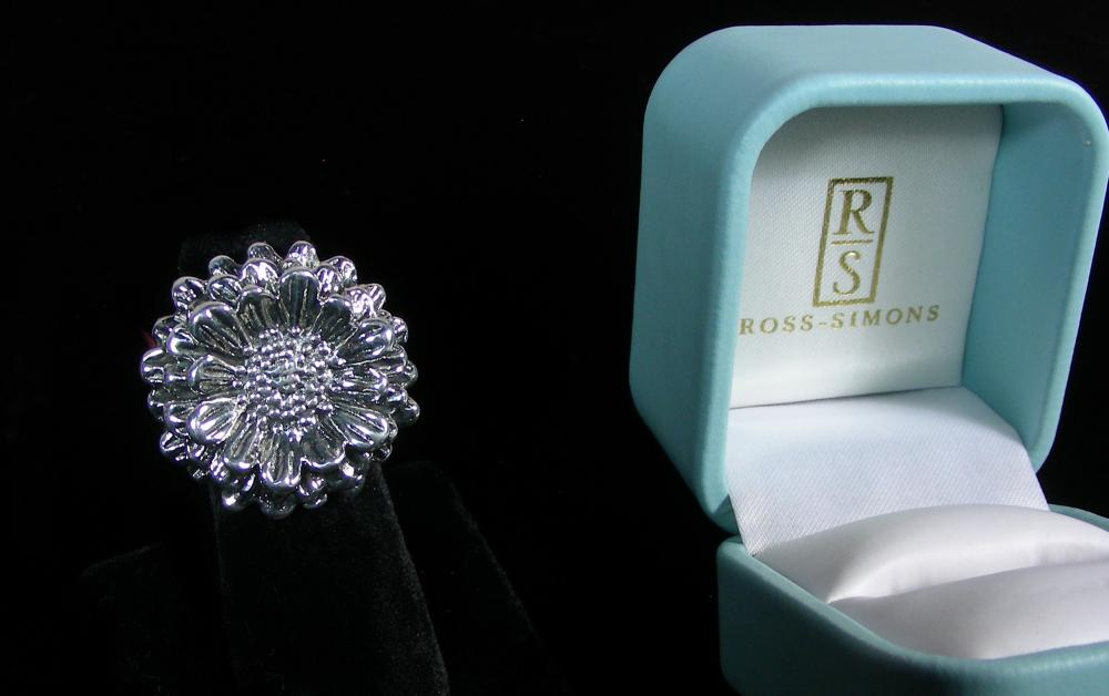 DESIGNER ROSS SIMONS STERLING SILVER FLOWER RING