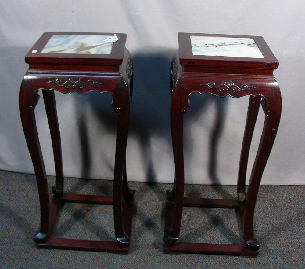 PAIR VINTAGE CHINESE ROSEWOOD STANDS WITH MARBLE TOPS
