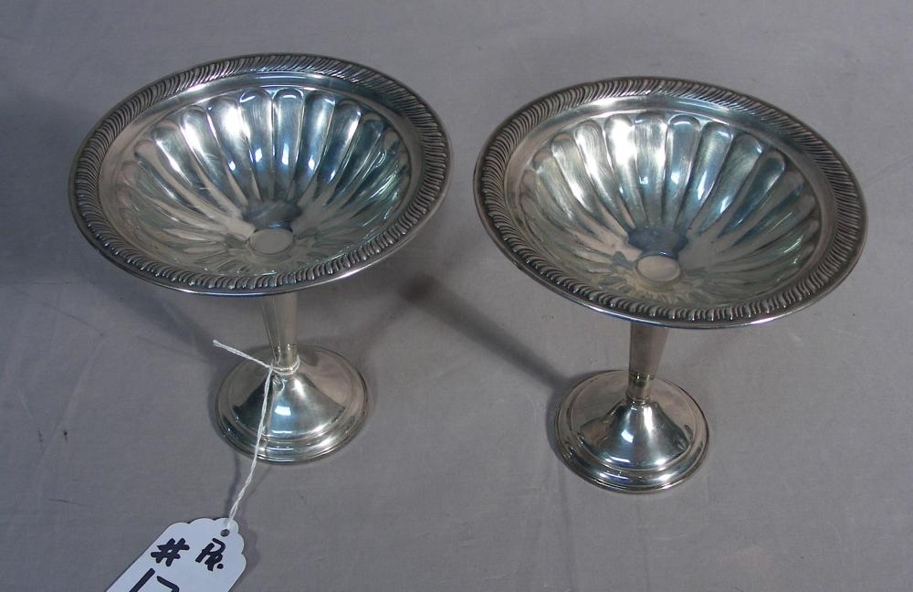 PAIR VINTAGE STERLING SILVER CANDY DISHES