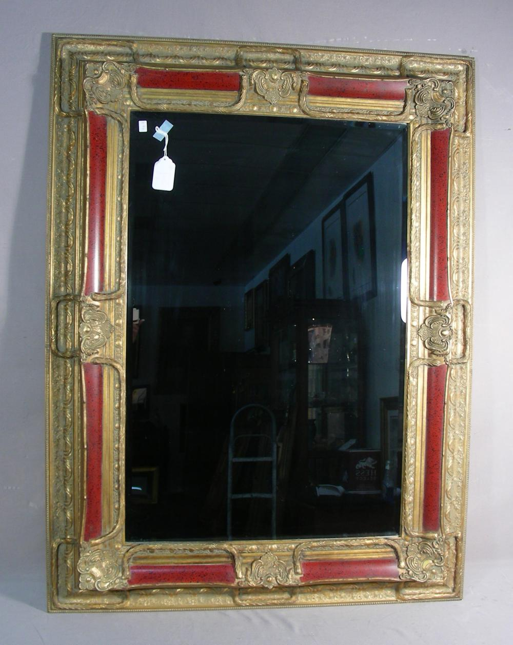 HAND PAI NTED TWO TONE BEVELED GLASS MIRROR