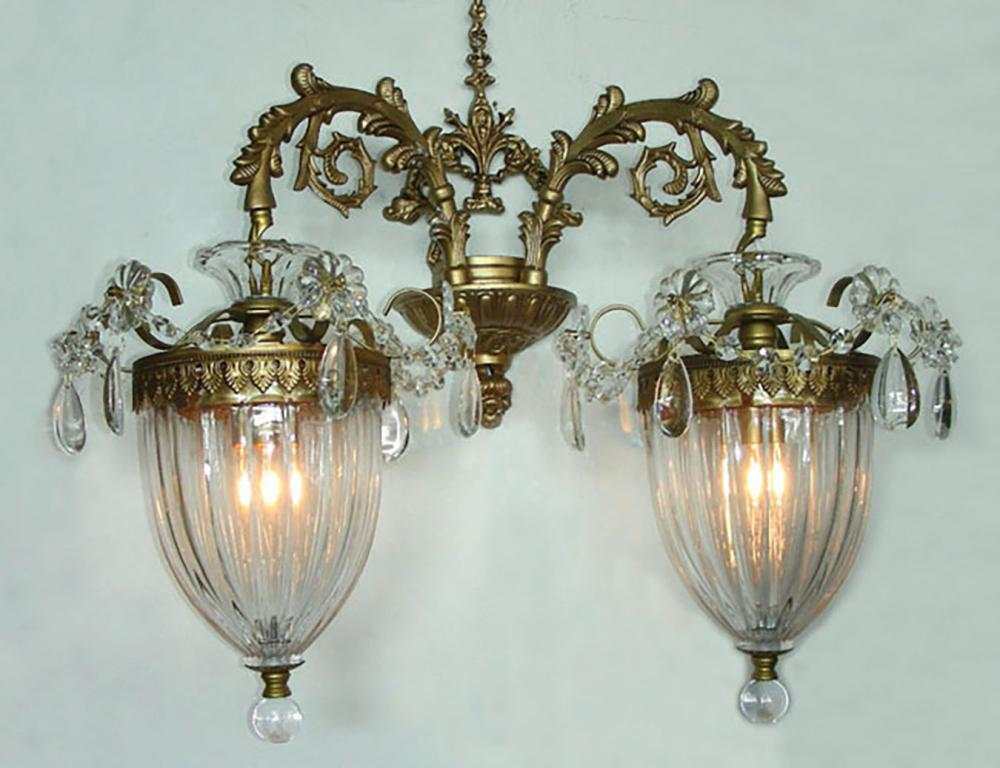 PAIR FINE BACCARAT STYLE GILT METAL AND CRYSTAL WALL SCONCES