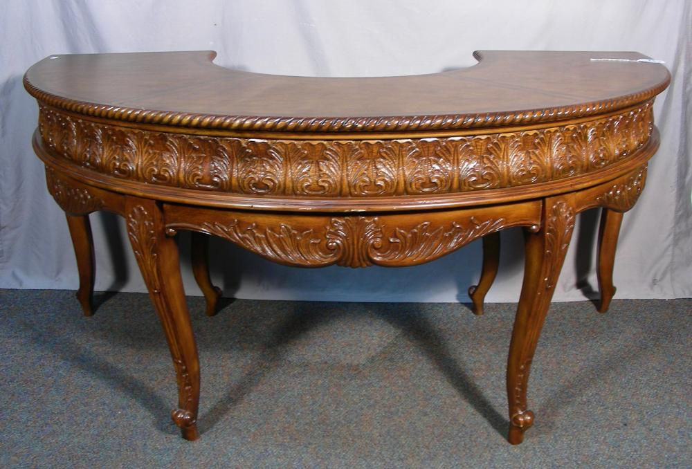 """UNUSUAL HAND CARVED """"U"""" SHAPED DESK WITH LEATHER TOP"""