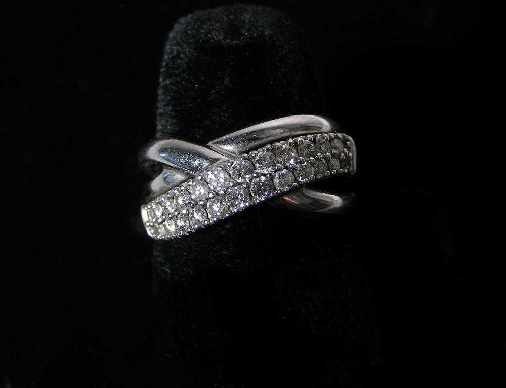 LADIES 14K W.G. & DIAMOND RING
