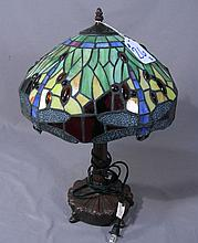 SMALL SCALE METAL AND LEADED GLASS DRAGONFLY TABLE LAMP