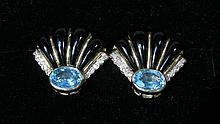 PAIR LADIES 14K YELLOW GOLD, ONYX, BLUE TOPAZ AND DIAMOND EARRINGS