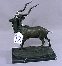 BRONZE SCULPTURE OF STANDING LONG HORN DEER