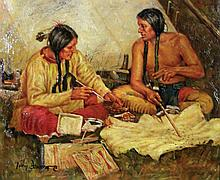 OIL ON CANVAS:  TWO INDIANS BY TROY DENTON