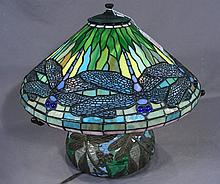 HEAVY BRONZE AND LEADED GLASS DRAGONFLY TABLE LAMP