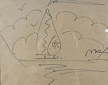 PETER MAX (1937-    ) GERMAN - ORIGINAL DRAWING ON BROWN PAPER