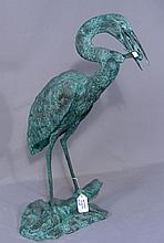 BRONZE SCULPTURE/FOUNTAIN STANDING CRANE