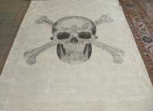 VERY UNUSUAL CUSTOM  HAND KNOTTED AND PAINTED SKULL MOTIF RUG
