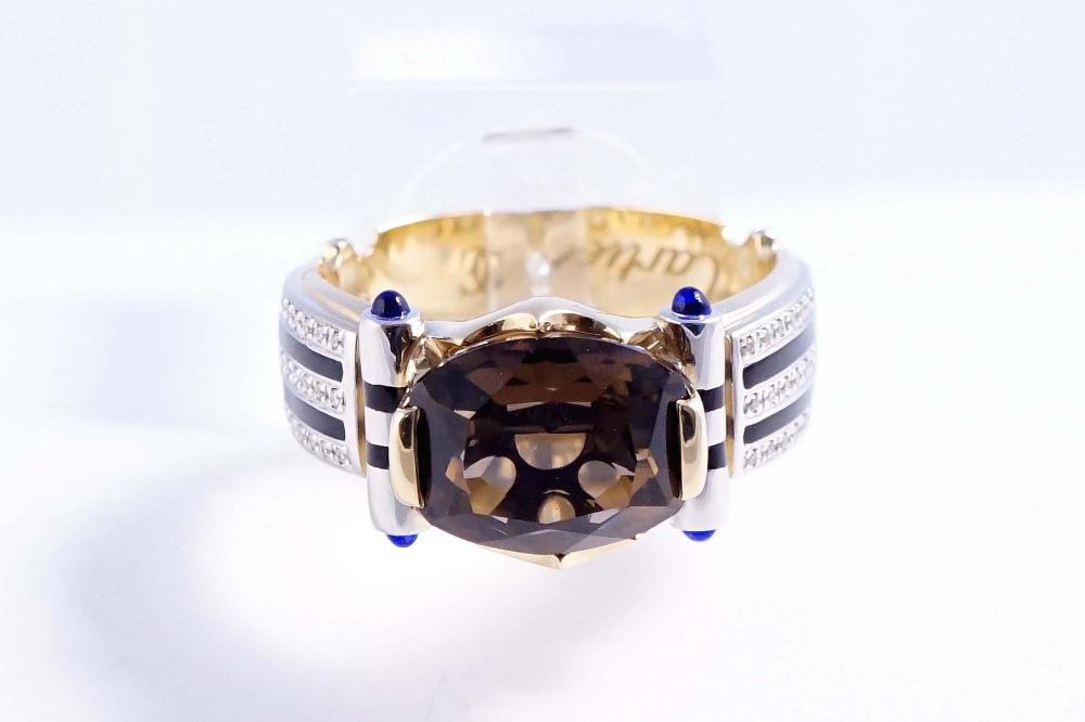 Cartier - 18K yellow and white gold men's ring set with diamonds and quartz