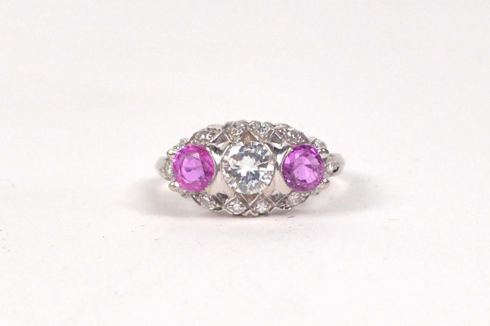 14K white gold vintage ring set with diamonds and pink sapphires