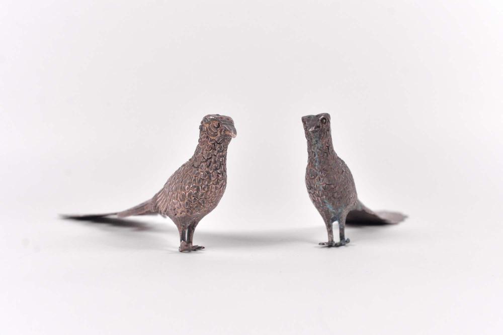 Maciel - Sterling silver salt and pepper shaker set, pheasants - c.1940